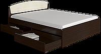 Кровать двуспальная Астория с 2-мя ящиками венге комби Эверест (165х203х79 см)