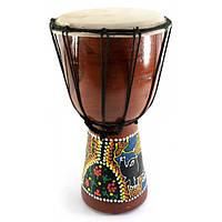 Барабан джембе расписной дерево с кожей (30х16.5х16.5 см) ( 30252)