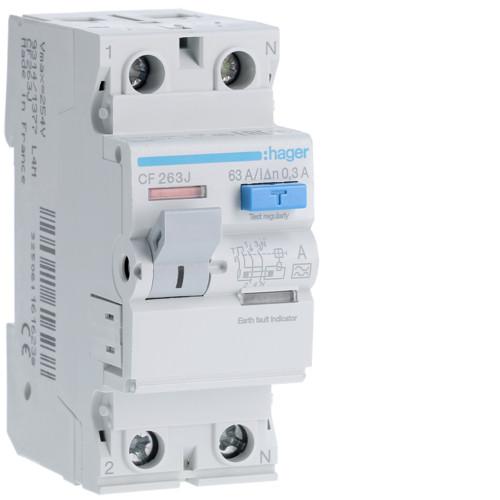 Устройство защитного отключения Hager (ПЗВ) 2P 63A 300mA A (CF263J)