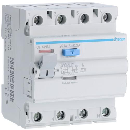 Устройство защитного отключения Hager (ПЗВ) 4P 25A 300mA A (CF425J)