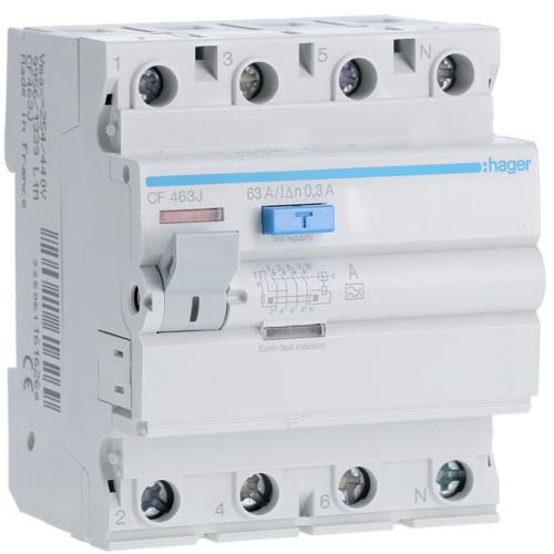 Устройство защитного отключения Hager (ПЗВ) 4P 63A 300mA A (CF463J)