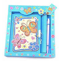 """Блокнот с замком для девочек """"Бабочки"""" синий (2 ключа)(19,5х17,5х2 см) ( 32944B)"""