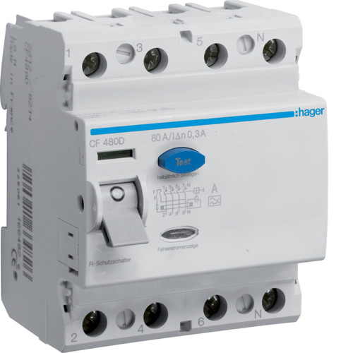 Устройство защитного отключения Hager (ПЗВ) 4P 80A 300mA A (CF480D)