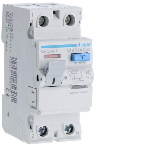 Устройство защитного отключения Hager (ПЗВ) 2P 63A 300mA AC (CF264J)