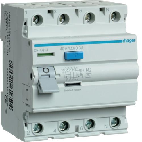 Устройство защитного отключения Hager (ПЗВ) 4P 40A 300mA AC (CF441J)