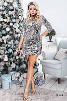 Платье из паетки серебро, фото 1