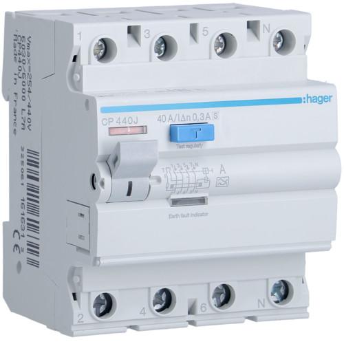 Устройство защитного отключения Hager (ПЗВ) 4P 40A 300mA A S (CP440J)