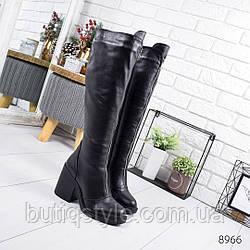 Черные зимние сапоги натуральная кожа на широком каблуке