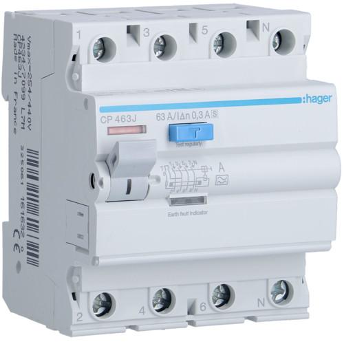 Устройство защитного отключения Hager (ПЗВ) 4P 63A 300mA A S (CP463J)