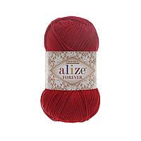 Пряжа Ализе Форевер Alize Forever, цвет №106 красный