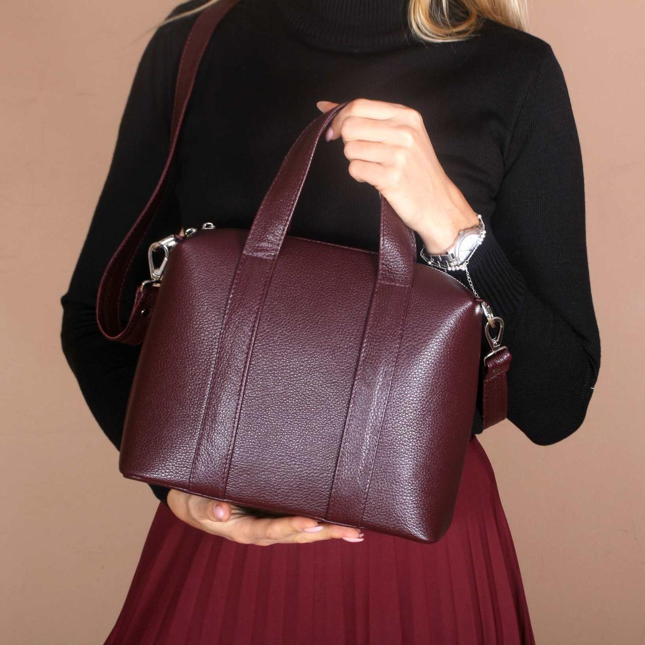 Кожаная женская сумка с двумя ручками, на молнии, цвет любой на выбор