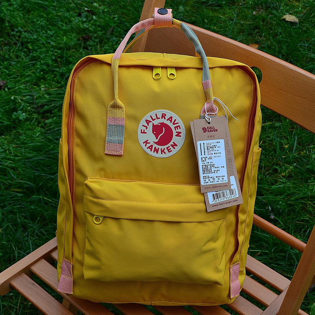 Рюкзак  Fjallraven Kanken, желтого цвета. Стильный городской рюкзак. Реплика. ТОП КАЧЕСТВО!!!