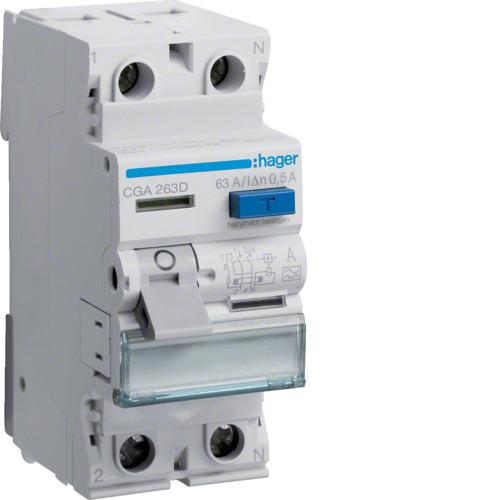 Устройство защитного отключения Hager (ПЗВ) 2P 63A 500mA A (CGA263D)