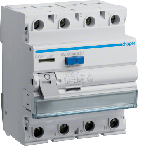 Устройство защитного отключения Hager (ПЗВ) 4P 63A 500mA A (CGA463D)