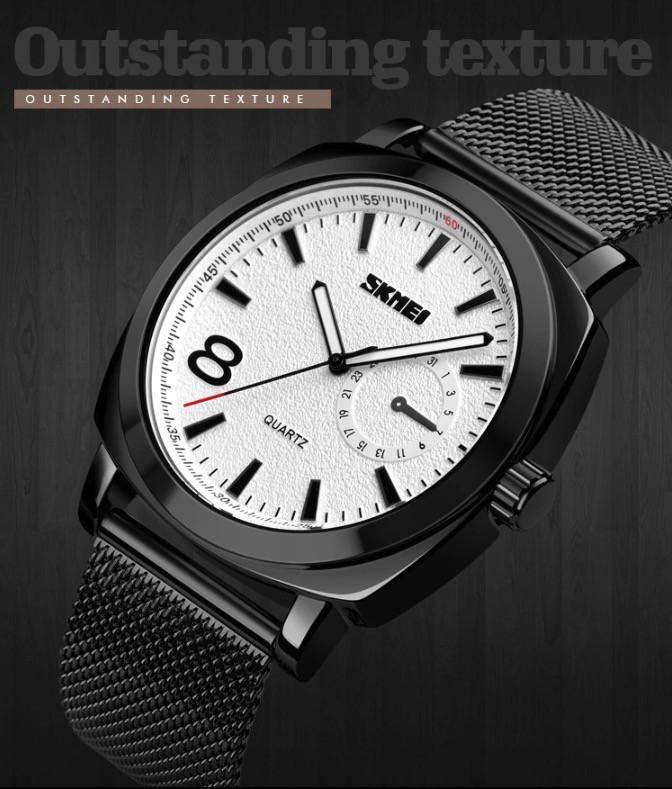 Чоловічі годинники Skmei 1466 кварцові сталеві чорні