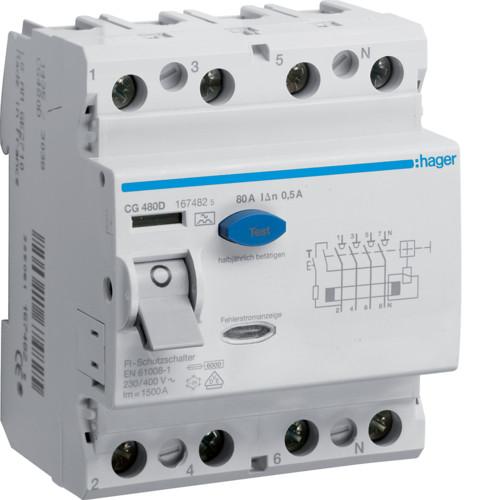 Устройство защитного отключения Hager (ПЗВ) 4P 80A 500mA A (CG480D)
