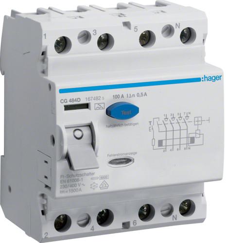 Устройство защитного отключения Hager (ПЗВ) 4P 100A 500mA A (CG484D)