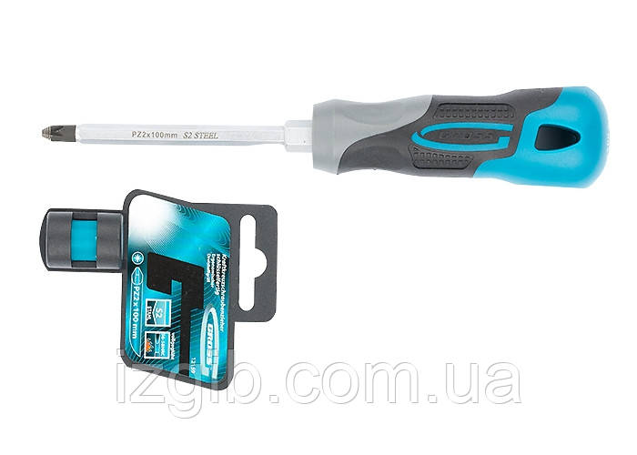 Отвертка Gross PZ2 x 100 мм, S2, трехкомпонентная ручка