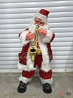 Новогодний декор Дед Мороз Санта Клаус с саксофоном маленький 75 см