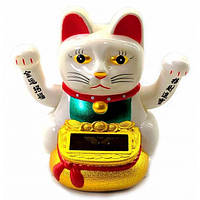 Кошка Манэки-нэко машущая лапами на солнечной батарее (10х10х7см) ( 32925)