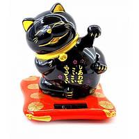 Кошка Манэки-нэко машущая лапами на солнечной батарее (8х7х7см) ( 32938)