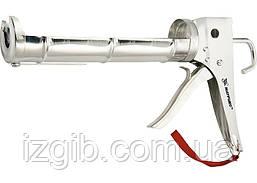 Пистолет для герметика Matrix 310 мл, полуоткрытый, хромир., зубчатый шток 7 мм