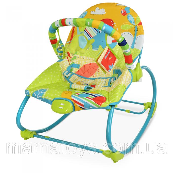 Детский Шезлонг качалка 6920 Mastela Зеленый 2 положения спинки. Музыка, вибро, арка с игрушками