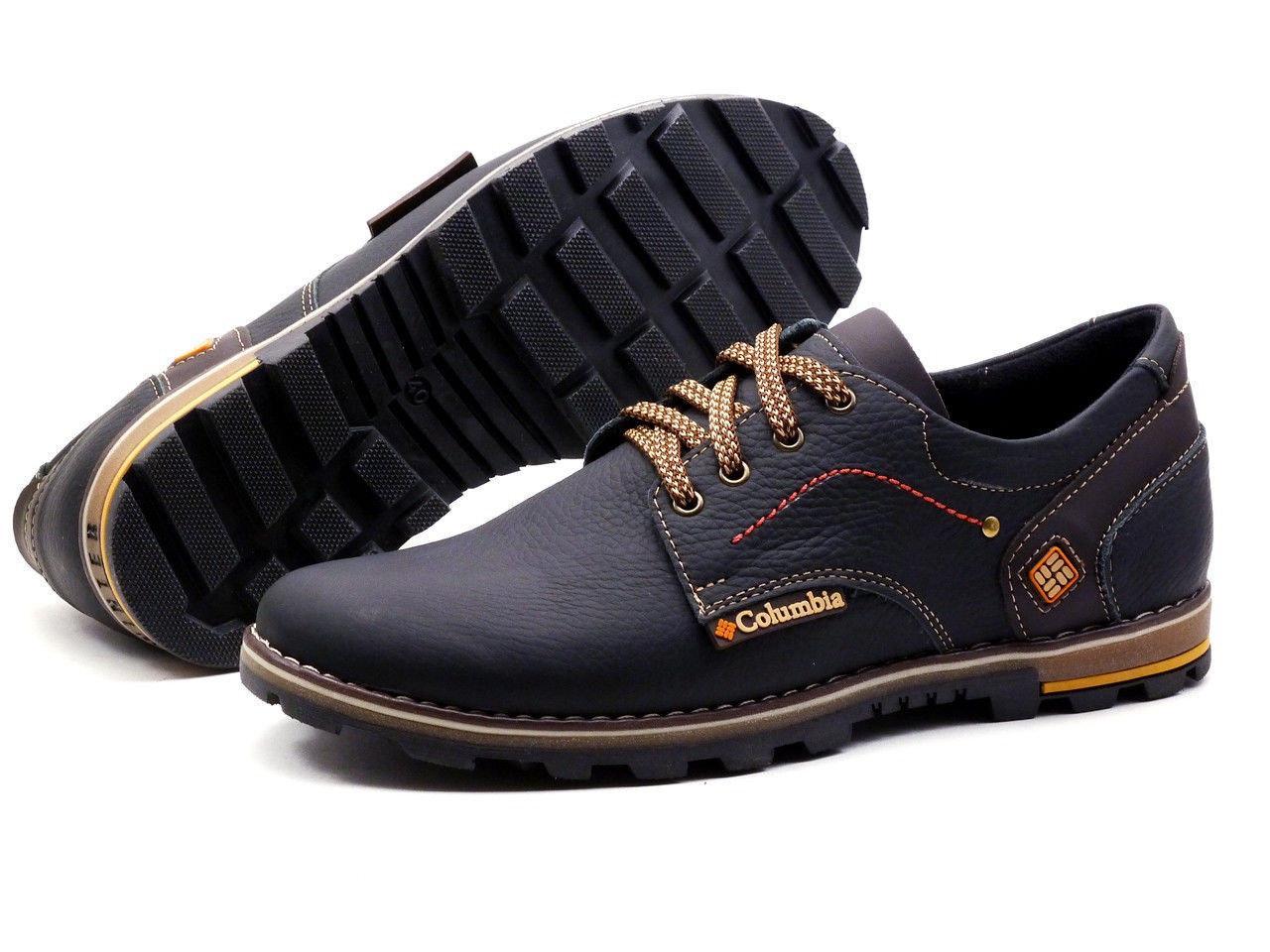 Мужские кожаные кроссовки черные (40-45) ПК-45 чорн.