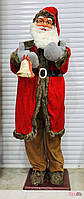 Новогодний декор добрый Дед Мороз большой с колокольчиком 168 см