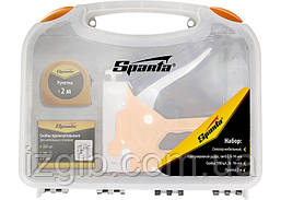 Набор: степлер мебельный регулируемый Sparta скобы 500 шт, рулетка 2м., тип скобы 53,6-14 мм