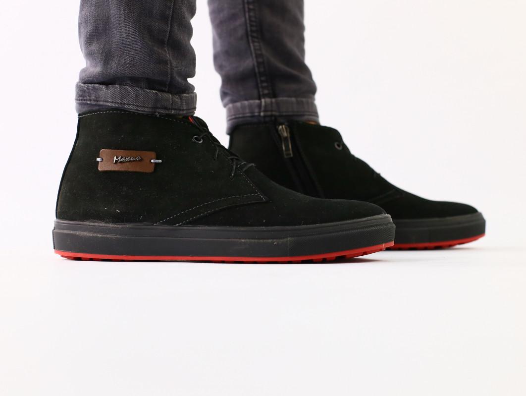 Ботинки мужские зимние черные на шнурках, из нубука