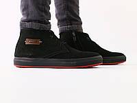 Ботинки мужские зимние черные на шнурках, из нубука, фото 1