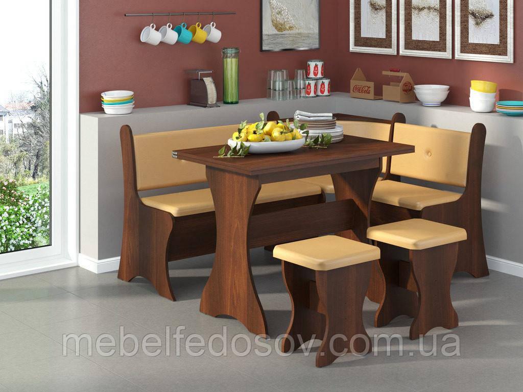 Кухонный уголок с нераскладным столом Маркиз  (Пехотин) 1600х1200х850мм