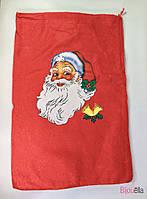 Новогодний мешок для подарков большой с Дедом Морозом 30 см 46 см
