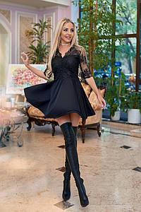 Вечернее платье в стиле Бэби-долл с гипюровой спинкой