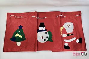 Мешок для подарков новогодний микс рисунков 10 см 24