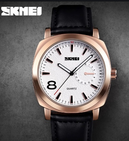 Мужские часы Skmei 1466 кварцевые черная кожа золотые