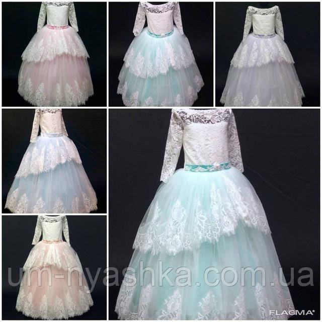 Очень нежное нарядное платье Ева на 5-6,7-8, 9-10 лет