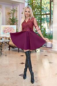 Вечернее платье Бэби-долл с гипюровой спинкой