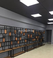 Черный кассетный подвесной потолок тип Армстрон (металлическая плита+ профиль)