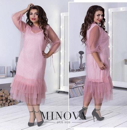 """Романтичное женское платье ткань """"Фатин на хб подкладке"""" 58 размер батал, фото 2"""