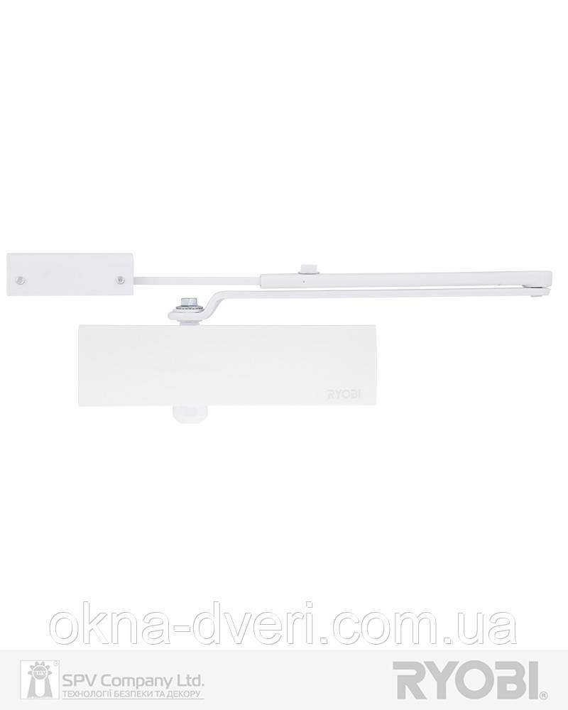 Доводчик накладного типа с кронштейном RYOBI 1200 D-1200P(U) WHITE BC UNIV_ARM EN_2/3/4 80кг 1100мм