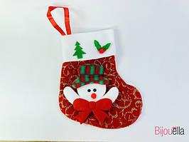 Носок Новогодний для подарков с снеговиком 12 шт