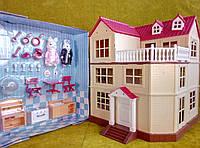 Детский игровой домик Happy Family 012-10 аналог Sylvanian Families свет. эффекты, мебель, 2 фигурки