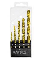 Набор нитридтитановых сверл по металлу Matrix 3-4-5-6-8мм HSS