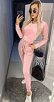 Женский велюровый костюм с капюшоном в расцветках