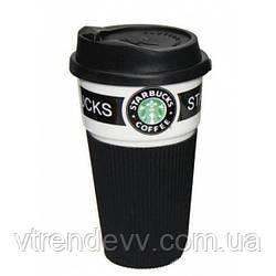 Чашка термочашка керамическая Старбакс Starbucks 350 мл черная