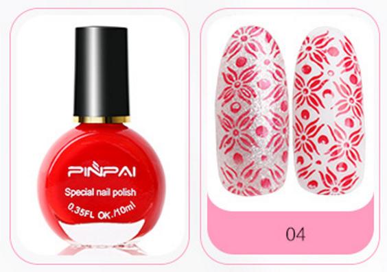 Краска-лак для стемпинга № 4, PINPAI, красная