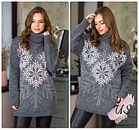 Женский вязаный свитер с зимним  орнаментом. Цвета!
