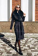 Шикарное теплое зимнее пальто с меховым воротником, фото 1